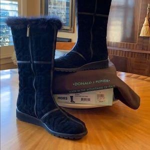 Donald Pliner suede, leather & mink trimmed boots